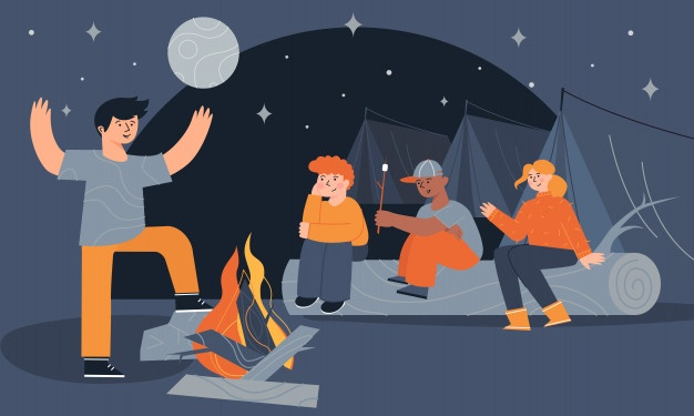 children sitting near campfire tents eating marshmallow telling scary stories night 135869 120